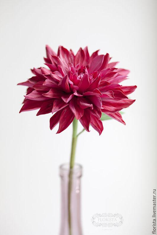 Цветы ручной работы. Ярмарка Мастеров - ручная работа. Купить Цветок георгина.. Handmade. Бордовый, decoclay, Японская глина decoclay