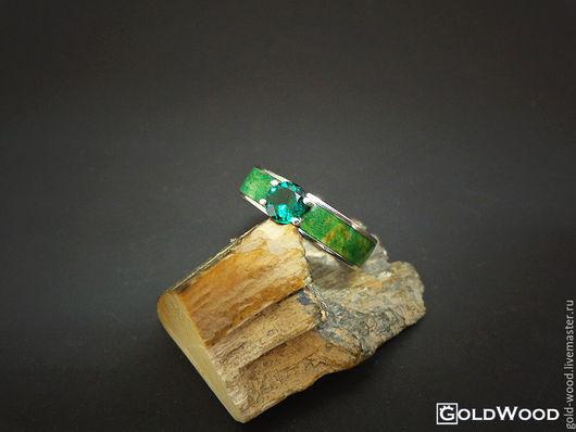 """Кольца ручной работы. Ярмарка Мастеров - ручная работа. Купить Кольцо """"Linewood"""" + изумруд. Handmade. Зеленый, кольцо из дерева"""