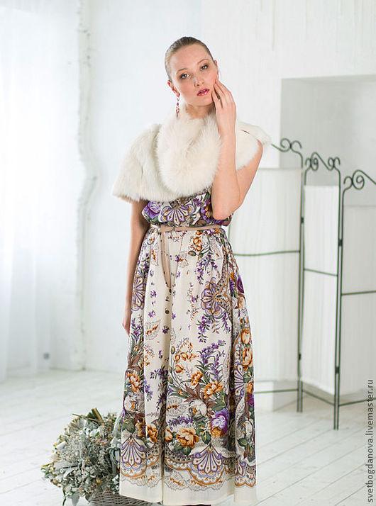 Платья ручной работы. Ярмарка Мастеров - ручная работа. Купить Несмеяна. Handmade. Белый, павлопосадские платки, длинное платье