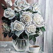 Картины и панно ручной работы. Ярмарка Мастеров - ручная работа Розы на окне. Handmade.