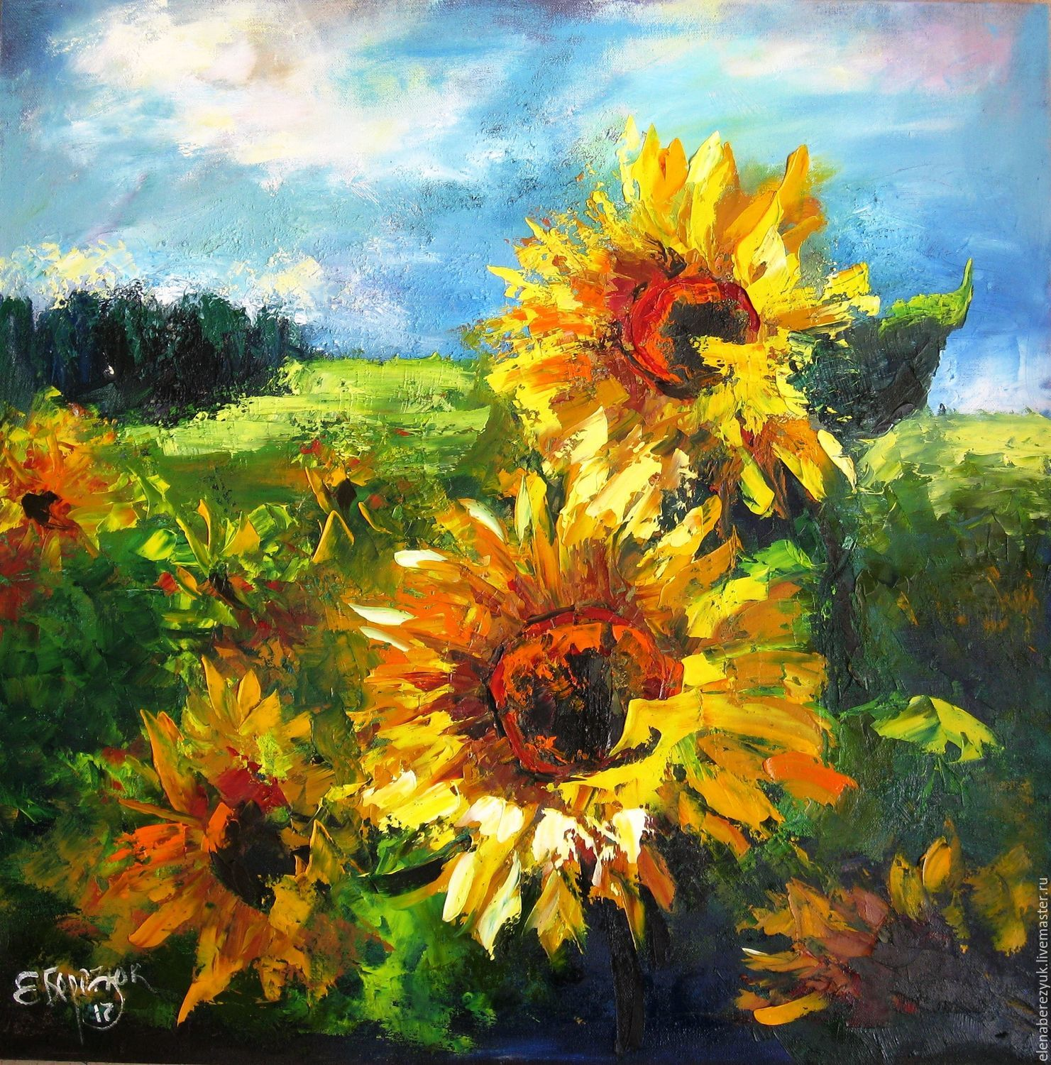 Oil painting on canvas sunflowers in fields shop online for Buy mural paintings online