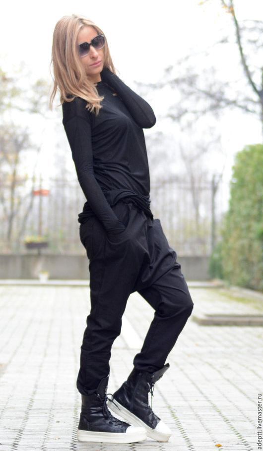 Блузки ручной работы. Ярмарка Мастеров - ручная работа. Купить Черная Хлопковая Блуза. Handmade. Черная блуза, стильная кофта