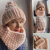 Аксессуары handmade. Livemaster - original item Hat and snood set, pale pink. Handmade.
