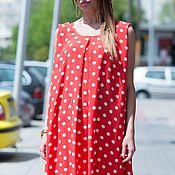 Одежда handmade. Livemaster - original item Long satin dress, red polka dot - DR0188CH. Handmade.