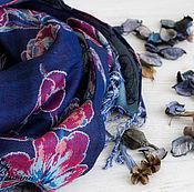 Аксессуары handmade. Livemaster - original item Homespun wool shawl For dark blue. Handmade.