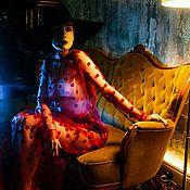 Одежда ручной работы. Ярмарка Мастеров - ручная работа Прозрачное красное платье в горох. Handmade.