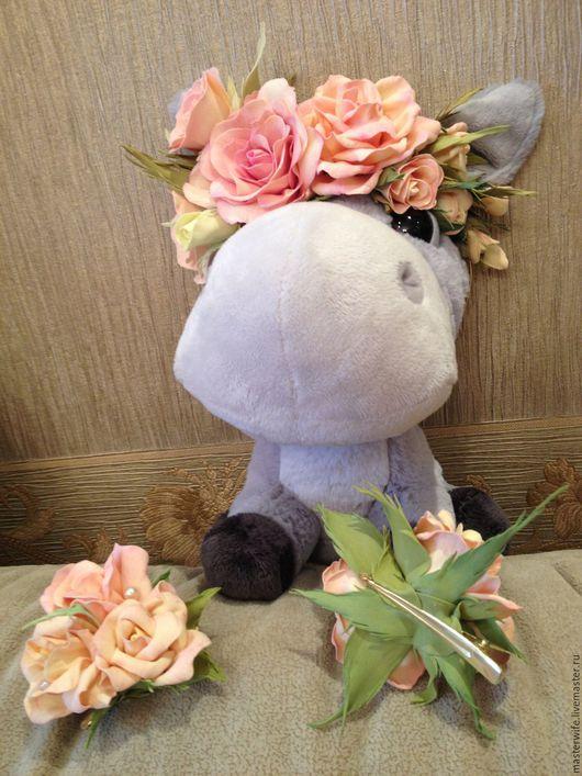 Диадемы, обручи ручной работы. Ярмарка Мастеров - ручная работа. Купить Ободок из роз.. Handmade. Кремовый, праздничное украшение, фоамиран