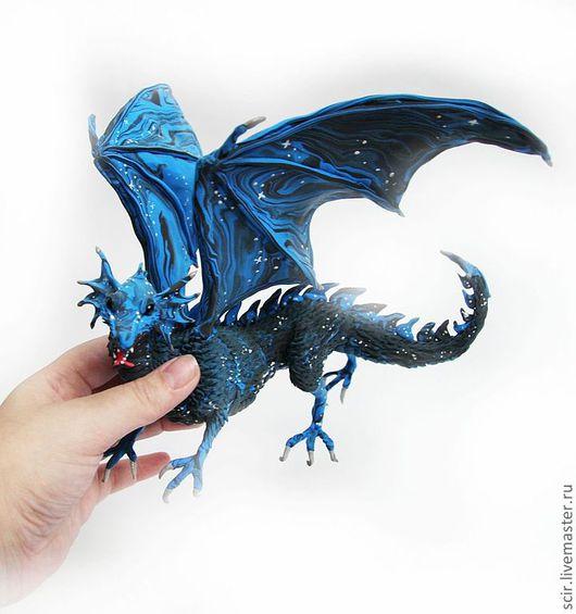 """Сказочные персонажи ручной работы. Ярмарка Мастеров - ручная работа. Купить фигурка """"Дракон звёздной ночи"""" (дракон звёздного неба). Handmade."""