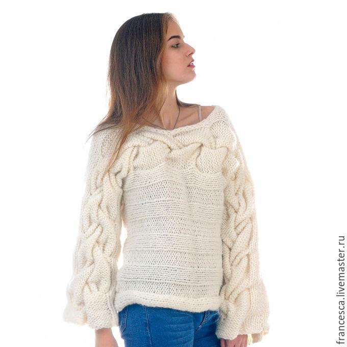 свитер белый женский вязаный из итальянской шерсти с ангорой и шарф