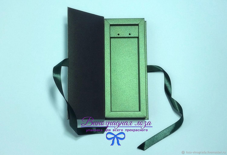 Подарочная упаковка ручной работы. Ярмарка Мастеров - ручная работа. Купить Коробка-книжка 'Малахит' для серёг,15х5х2(2,5) см. Handmade.