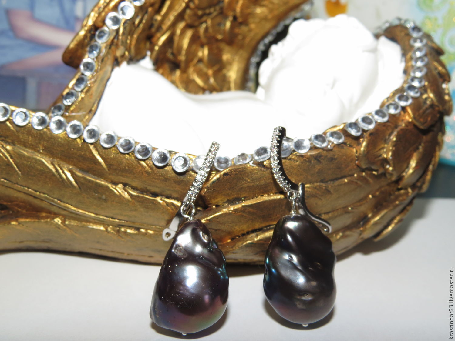 Earrings `Mulatto` with natural large black Baroque pearl