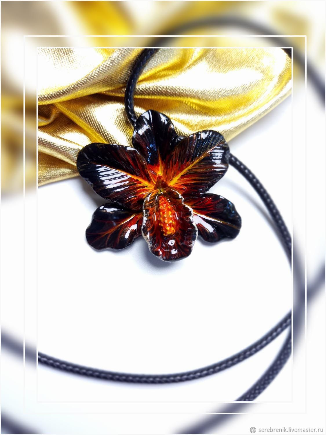 Black Orchid-volume pendant - pendant on a cord, Pendants, Moscow,  Фото №1