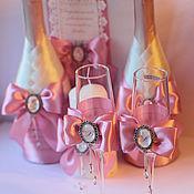 Свадебный салон ручной работы. Ярмарка Мастеров - ручная работа Набор аксессуаров на свадьбу в розовом цвете с стильной брошью. Handmade.
