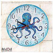 """Для дома и интерьера ручной работы. Ярмарка Мастеров - ручная работа Часы настенные """"Осьминог"""", часы ручной работы, часы расписные. Handmade."""