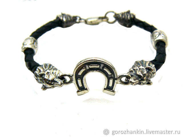 Bracelet 'Bears, wolves-horseshoe-rotifer' leather 17-23mm silver gift to a guy, man, girl, woman for the New year, birthday, February 4, March 23, Valentine's day, every day, at work