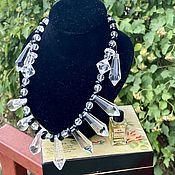 Винтаж handmade. Livemaster - original item White and black. Lucite earrings and necklace. England.. Handmade.