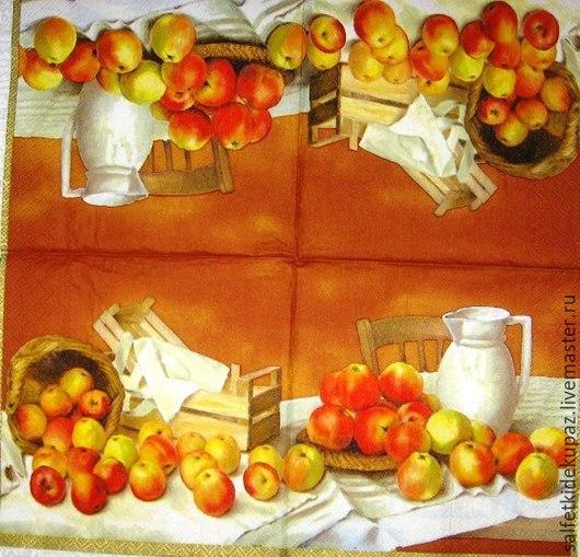 Декупаж и роспись ручной работы. Ярмарка Мастеров - ручная работа. Купить Натюрморт с яблоками. Салфетка. Handmade. Разноцветный, салфетка с натюрмортом