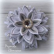 Работы для детей, handmade. Livemaster - original item Hair bands Silver glitter in the technique of kanzashi. Handmade.