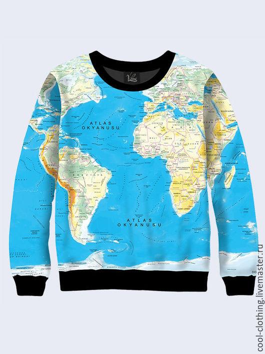 Кофты и свитера ручной работы. Ярмарка Мастеров - ручная работа. Купить Свитшот Карта мира для путешественников. Handmade. Разноцветный