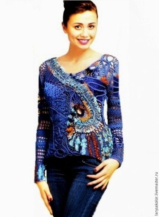 """Кофты и свитера ручной работы. Ярмарка Мастеров - ручная работа. Купить Пуловер,,Spase"""". Handmade. Тёмно-синий, пуловер крючком"""