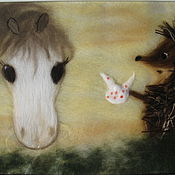 Картины и панно ручной работы. Ярмарка Мастеров - ручная работа Картина из шерсти Ежик в тумане. Handmade.