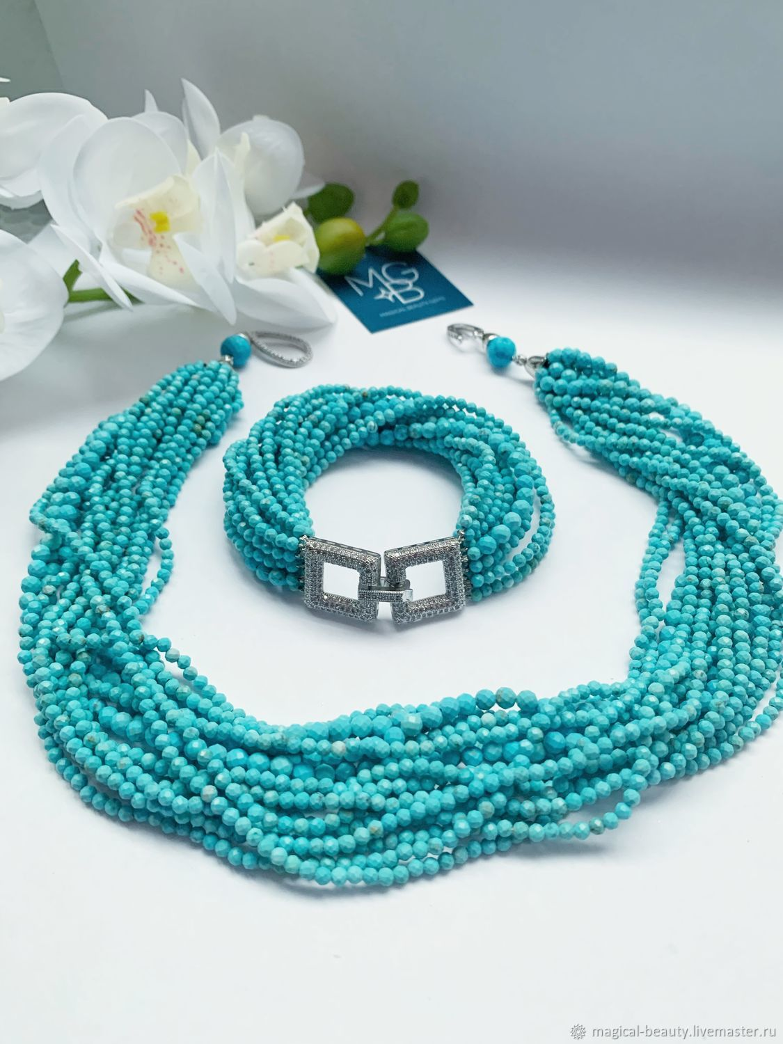 Jewelry set ' Above the turquoise surface of the sea», Necklace, Moscow,  Фото №1