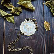 Украшения handmade. Livemaster - original item Round boho pendant with inscription Brass pendant with beads Ethnic. Handmade.