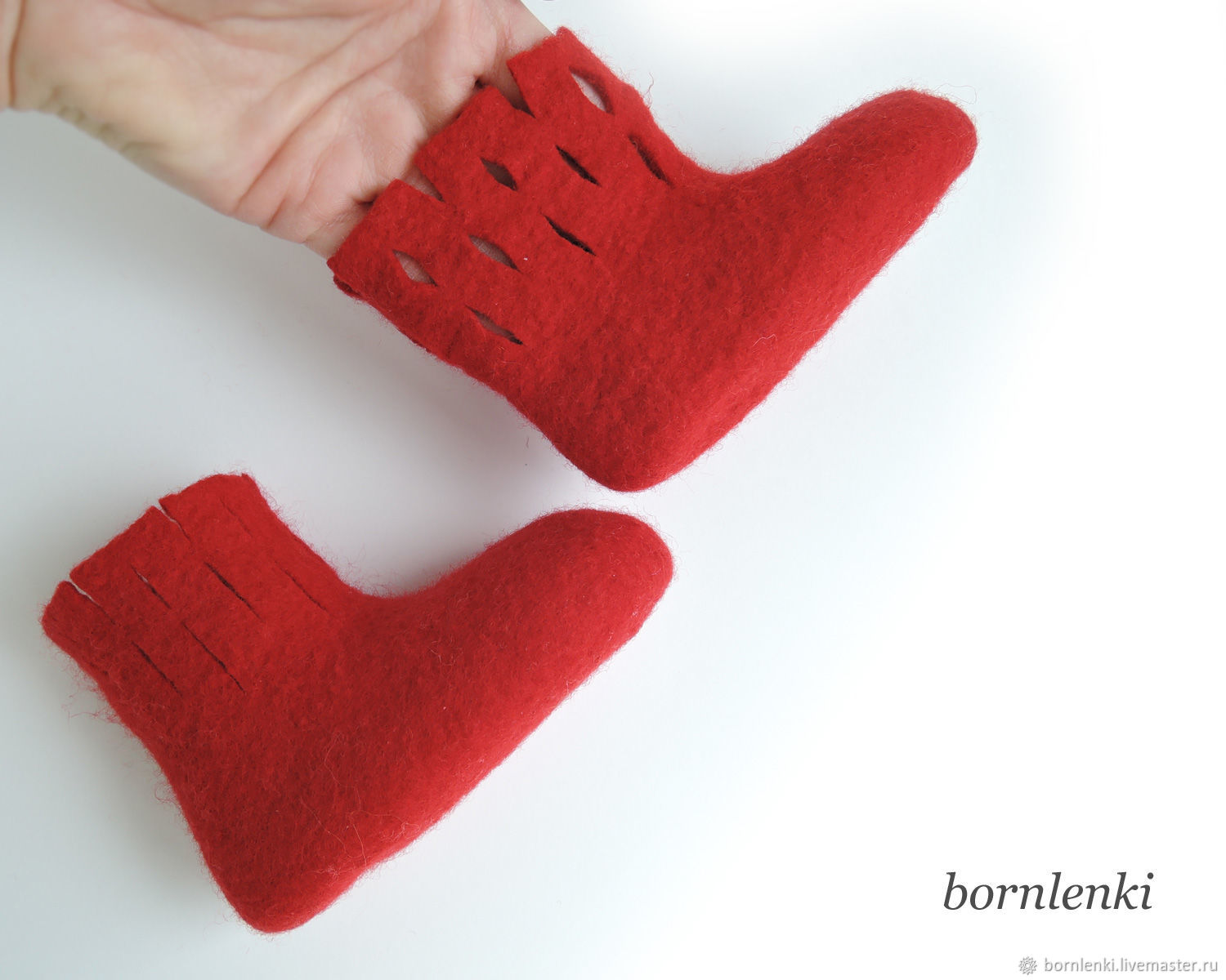 Red booties for Merino wool for a newborn 9,3 cm, Babys bootees, Moscow,  Фото №1