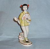 Винтаж handmade. Livemaster - original item DANCING CHINESE GIRL WITH A FAN. The Lomonosov porcelain factory, mid 20th century. A!. Handmade.