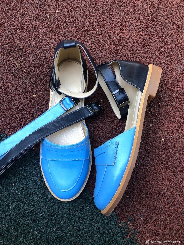 Обувь ручной работы. Ярмарка Мастеров - ручная работа. Купить Сандалии «Freedom» голубой/синий бежевая подошва два сменных ремня. Handmade.