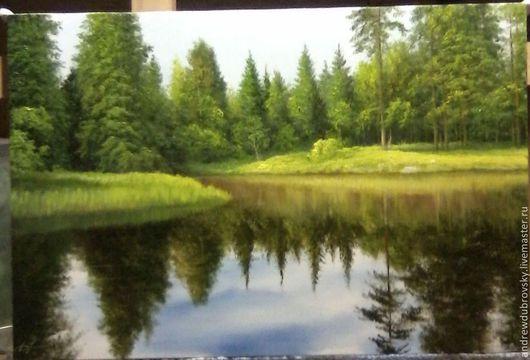 Пейзаж ручной работы. Ярмарка Мастеров - ручная работа. Купить Отражение. Handmade. Лес, картина, пейзаж, холст на подрамнике