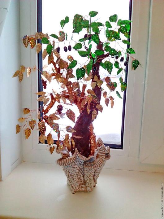 """Бонсай ручной работы. Ярмарка Мастеров - ручная работа. Купить Бонсай """"Дерево счастья"""". Handmade. Подарок, дерево любви, пайетки"""