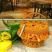 """Кукольные домики ручной работы. Ярмарка Мастеров - ручная работа Basket with honey, Корзина """"Янтарная"""" с мёдом из хб пряжи. Handmade."""