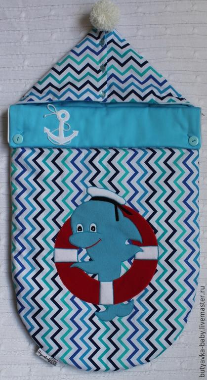 """Для новорожденных, ручной работы. Ярмарка Мастеров - ручная работа. Купить Конверт на выписку для новорожденного """"Дельфинчик"""". Handmade. Бирюзовый"""