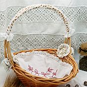 Для дома и интерьера handmade. Livemaster - original item Basket Delicate Vintage with real vintage napkin, shabby chic style. Handmade.