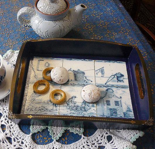 Кухня ручной работы. Ярмарка Мастеров - ручная работа. Купить деревянный поднос в голландском стиле. Handmade. Ретро стиль, гжель