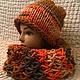 Шапочка , шарф хомут ( комплект), оранжевый, зима