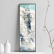 Картины и панно handmade. Livemaster - original item Lighthouse, seascape, oil painting on canvas.. Handmade.