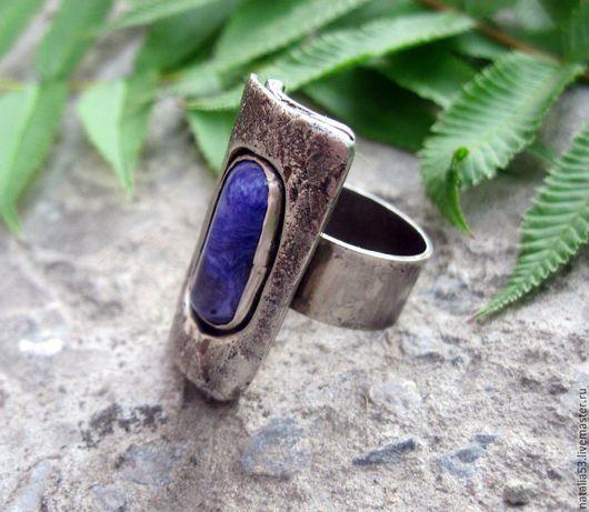 """Кольца ручной работы. Ярмарка Мастеров - ручная работа. Купить кольцо """" Чары""""( чароит,серебро). Handmade. Сиреневый, чароит"""