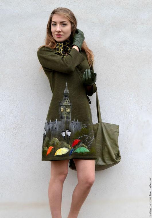 """Кофты и свитера ручной работы. Ярмарка Мастеров - ручная работа. Купить """" Лондонский дождь """". Handmade. Тёмно-зелёный"""
