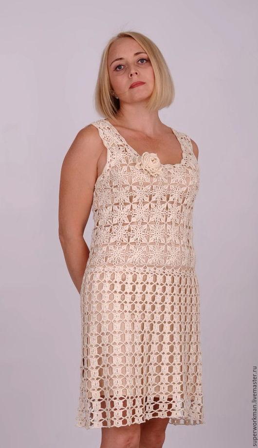 """Платья ручной работы. Ярмарка Мастеров - ручная работа. Купить Платье ажурное """"Соренто"""". Handmade. Белый, платье красивое фото"""