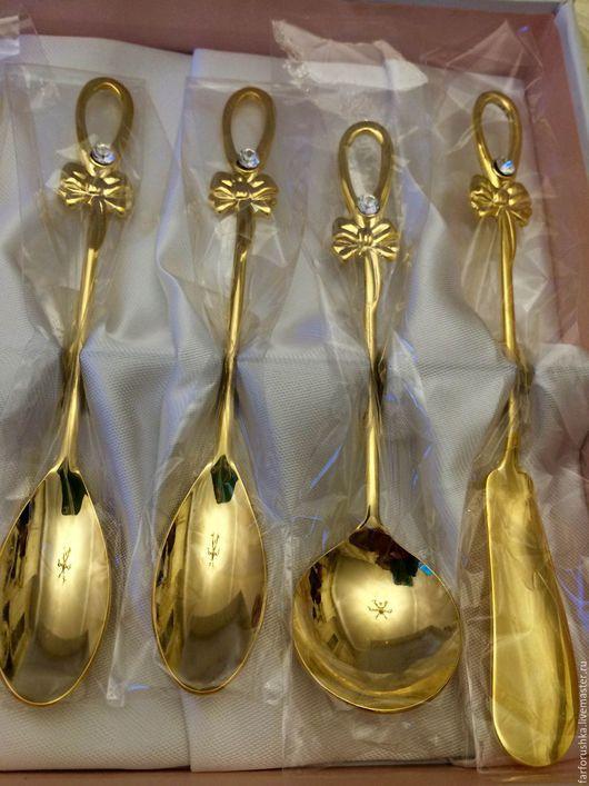 Винтажная посуда. Ярмарка Мастеров - ручная работа. Купить Десертный набор. Handmade. Золотой, золотая ложка