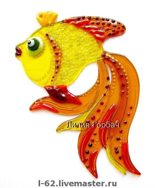 Interior Items handmade. Livemaster - handmade. Buy decor glass, fusing goldfish.Glass, fish, interior, yellow, glass