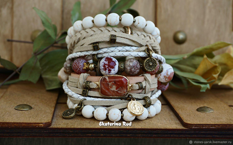 BOHO-chic bracelet with red jasper 'Royal beige', Bead bracelet, Moscow,  Фото №1