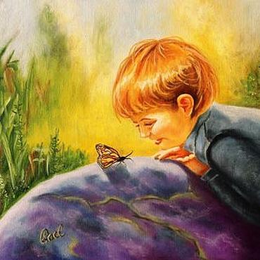 Картины и панно ручной работы. Ярмарка Мастеров - ручная работа Картина маслом. Мальчик и бабочка. Холст 30х40. Handmade.