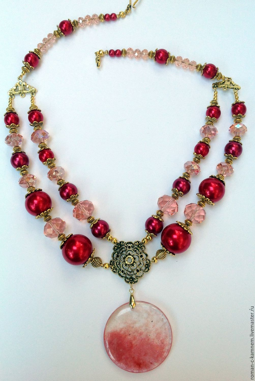 Jewelry set made of pearls and crystal in the center of the languid Dawn blush. Original,luxurious gift for a stylish, extraordinary women and girls.