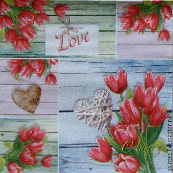 9pcs napkin for decoupage tulips favorite print, Napkins for decoupage, Moscow,  Фото №1