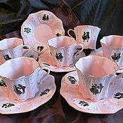 Винтаж handmade. Livemaster - original item SET OF 6 COFFEE PAIRS Pink porcelain Haas & Czjzek CZECH Republic EXT. comp.. Handmade.