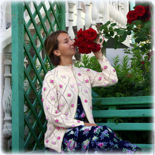 """Кофты и свитера ручной работы. Ярмарка Мастеров - ручная работа. Купить Кардиган """"В мечтах о розе"""".. Handmade. Комбинированный"""
