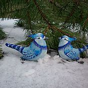 Сувениры и подарки handmade. Livemaster - original item Christmas decorations: Flax birds Blue crested jays New year. Handmade.